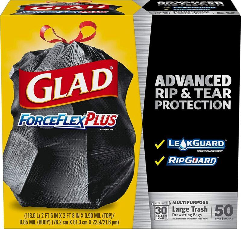 50 Count Glad ForceFlexPlus Drawstring Large Trash Bags - 30