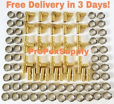 100 Pcs 12 Pex Brass Fittings W Stainless Steel Cinch Clamps - Lead Free