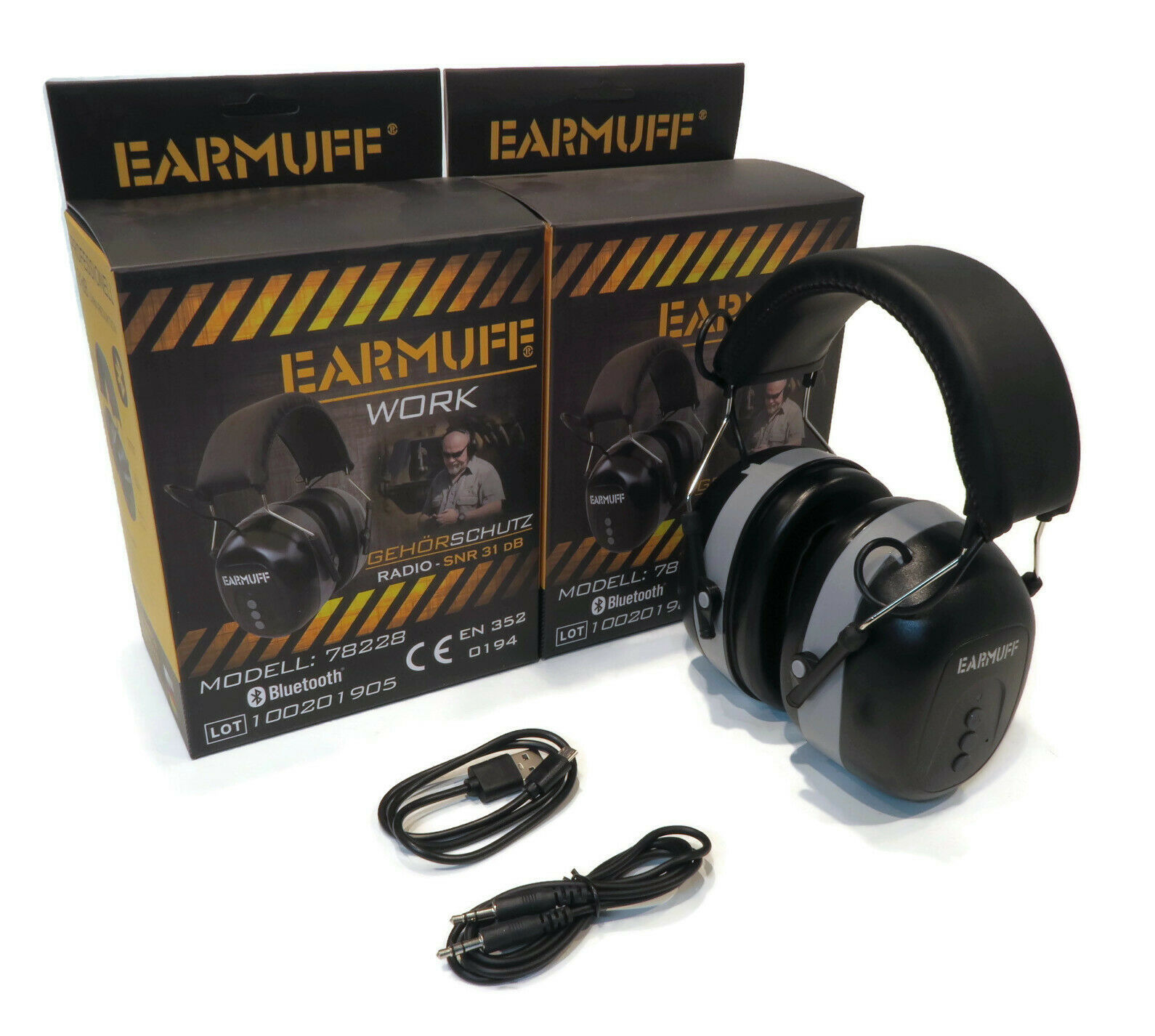 Pack Of 2 Earmuff Headsets 31db With Bluetooth For Work Construction Sites Ebay