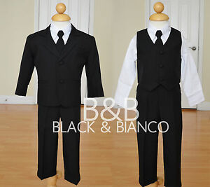 Boys-Wedding-Black-Tuxedo-Suit-W-Tie-Toddler-Infants-Size-0-24-Months-2T-3T-4T