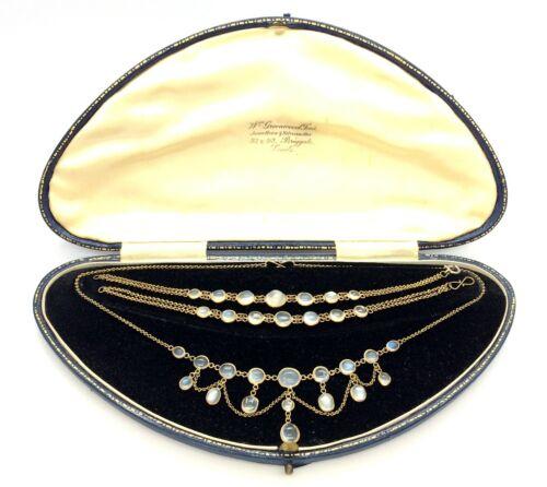 Antique Victorian Brass Natural Moonstone Bracelet & Festoon Necklace Set