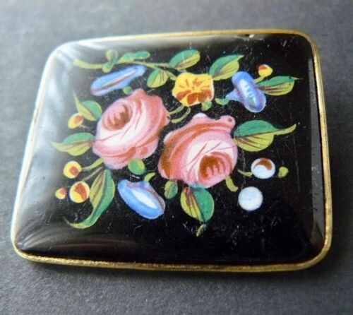 Antique Victorian GF Hand Painted Enamel Floral Black Glass Brooch / Pin