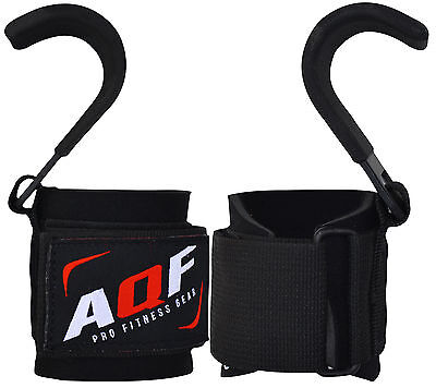 AQF Power Weight Lifting Training Gym Hooks Bar Strap Padded Wrist Support Strap