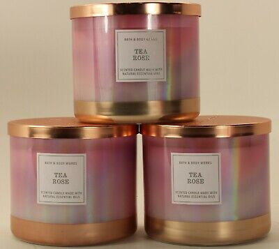 QTY 3 x Bath & Body Works Tea Rose 3 Wick 14.5 Oz Scented Candle Lot