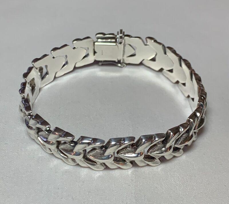 """Vtg 925 Milor Italy Sterling Silver Unique Link Bracelet 7 1/8"""""""