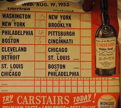 1953 CARSTAIRS BASEBALL CALENDAR PAGE RARE