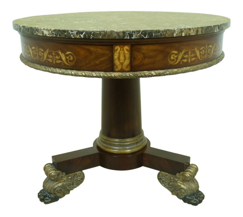 L53203EC: MAITLAND SMITH Round Marble Top Empire Style Center Table