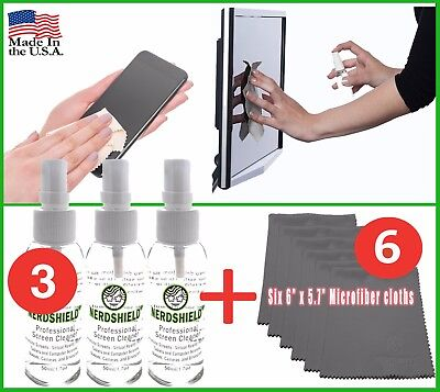 Screen Cleaner Kit- 3 Pack & 6 Microfiber Cloths for Cell Phone/Tablet/Notebook ()
