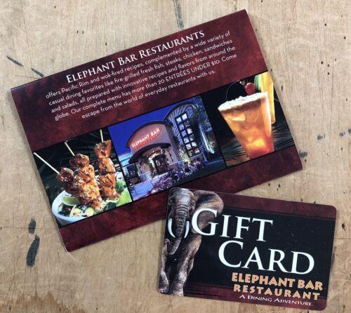 Unused 50 Elephant Bar Restaurant Gift Card W/ Original Receipt Jacket - $30.00