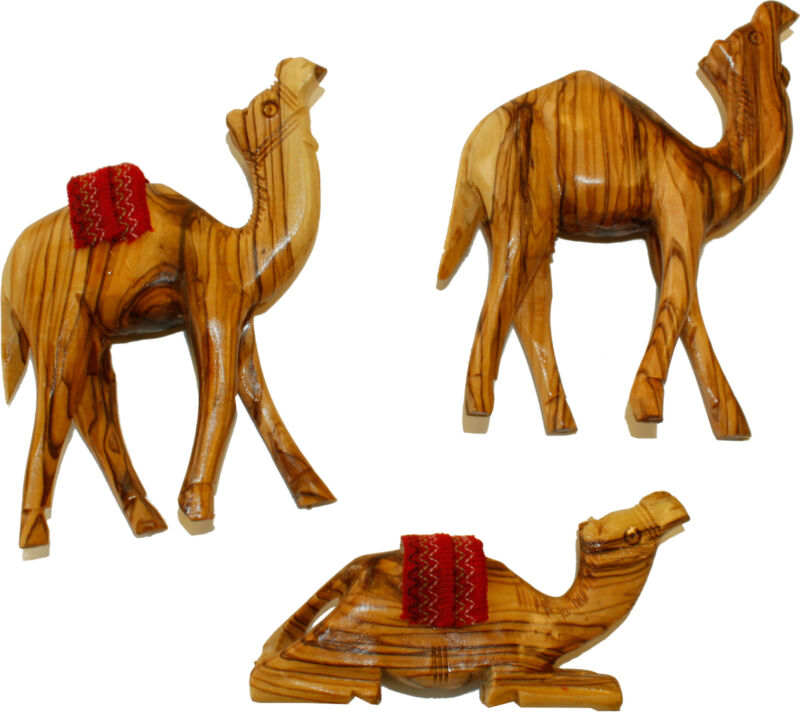 Holy Land Market Hand Carved Olive Wood Three Camel Set ( 8 Inches )