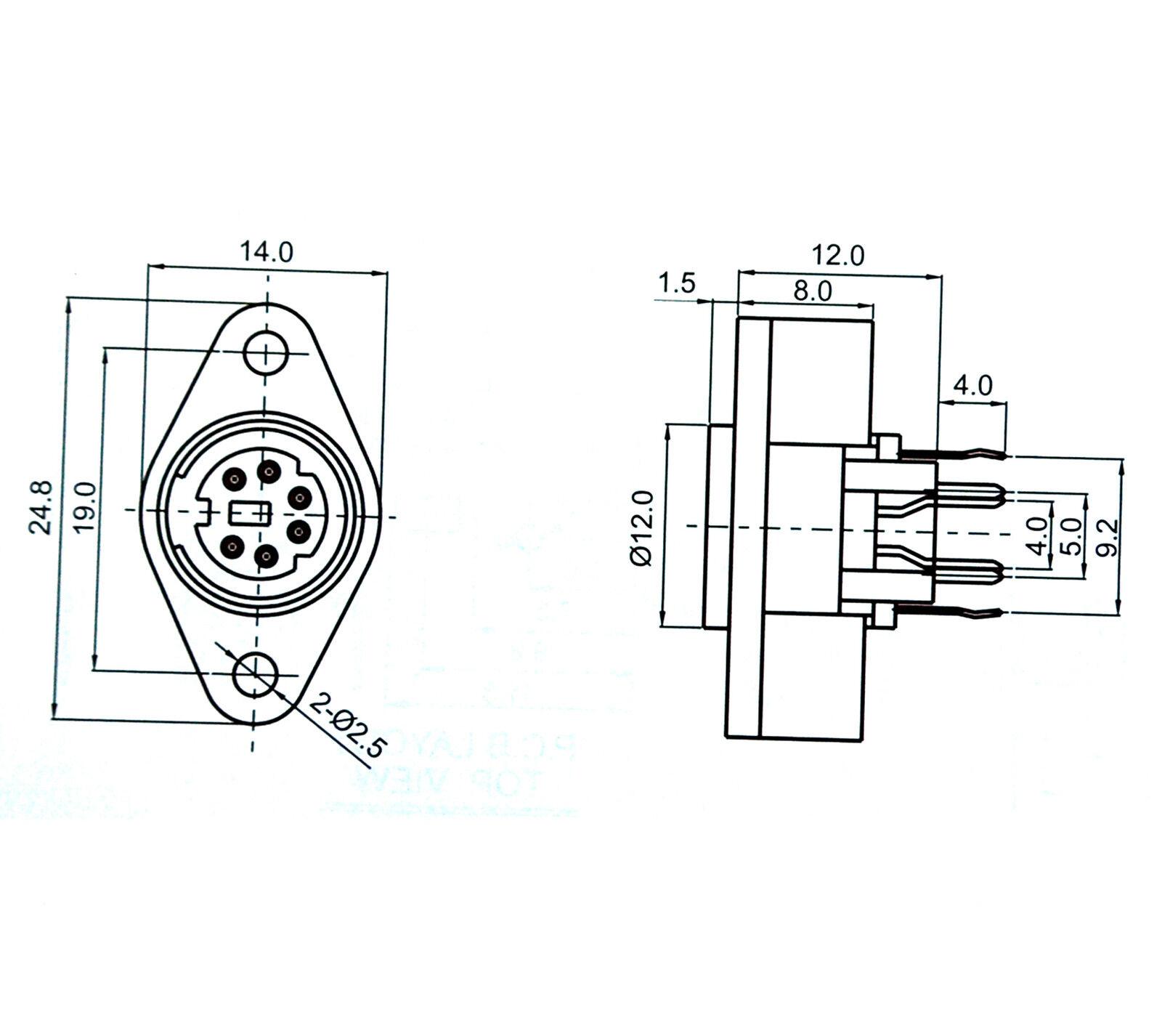 10pc mini din jack connector socket female 4p 4pin pcb pin