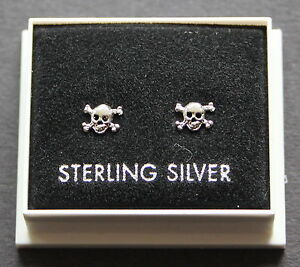 STERLING SILVER 925, STUD EARRINGS,  TINY SKULL AND CROSSBONES DESIGN,  ST 14