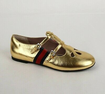 Gucci Kids Gold Metallic Leather Two Straps and BRB Web Flat sz 33 477838 8060