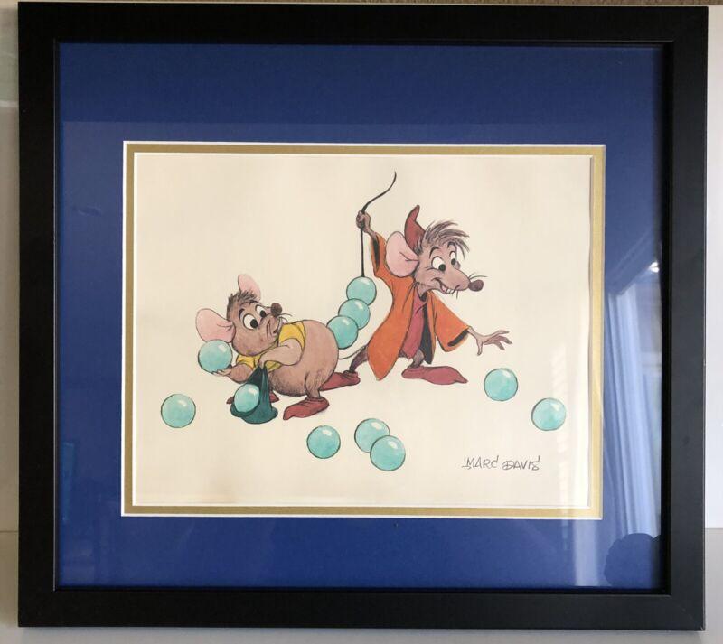 Vtg. Signed Marc Davis 1988 Walt Disney Cinderella's Gus & Jaq Framed Lithograph
