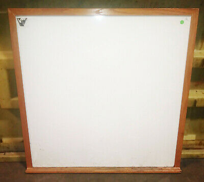 4x4 Wall Mount Non-magnetic Dry Erase White Board Oak Frame Marker Tray