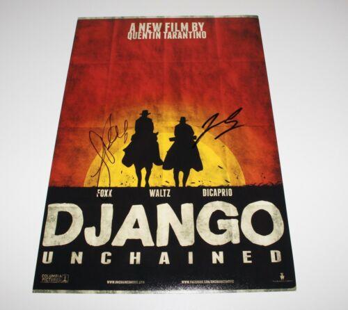 LEONARDO DICAPRIO JAMIE FOXX SIGNED 'DJANGO UNCHAINED' 12x18 MOVIE POSTER COA