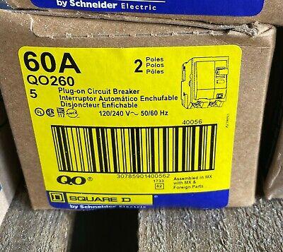 New Square D Qo260 2 Pole 60 Amp 120240v Plug-in Qo Circuit Breaker