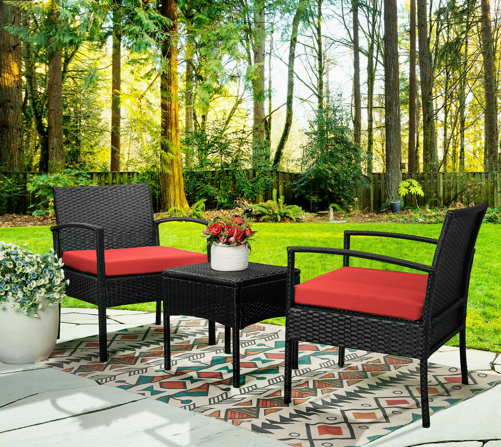 10pcs Wicker Rattan Patio Outdoor Furniture Conversation Sofa Bistro Set  Garden