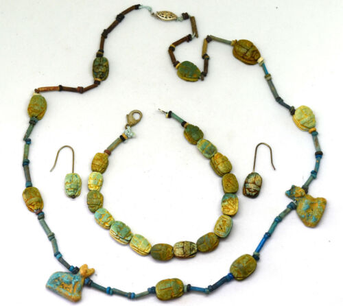 Ancient Egyptian Scarab with Faience Beads Necklace, Earrings and Bracelet
