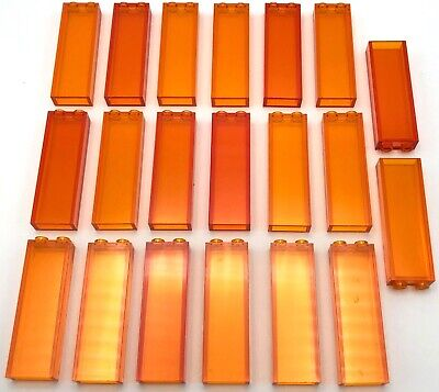 Lego 20 New Trans-Orange Bricks 1 x 2 x 5 without Side Supports Pieces