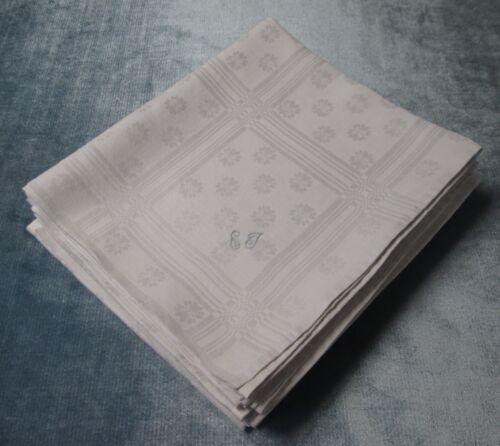 Antique 6 Linen Damask Lap Cloths E T Monograms Geometrics & Florals Hand Hemmed