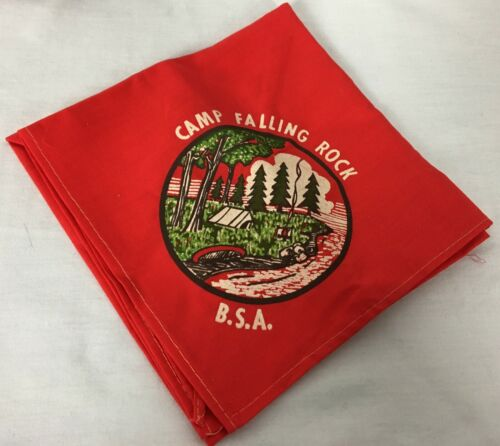 Boy Scouts of America BSA Red Neckerchief Camp Falling Rock Brand New Unused