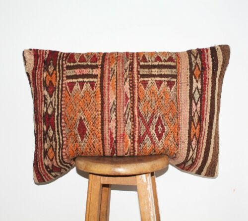 Handmade Vintage Turkish Boho Decorative Lumbar Kilim Pillow Bolster Cushion