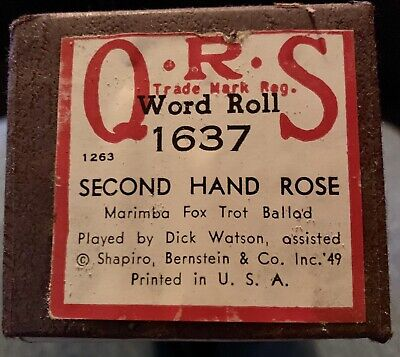 Vintage Piano Roll SECOND HAND ROSE QRS 1637 Word Roll Player Piano  for sale  Shipping to South Africa