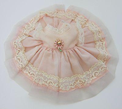 Vintage Vogue Littlest Angel Doll Dress~TAGGED LIGHT PINK w/OVERLAY & FLOWER~EVC