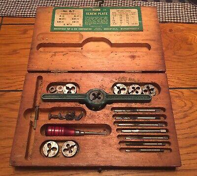 Vintage Ok Jr Screw Plate Tap Die Set Greenfield B-7 Machinist Tool Wood Box