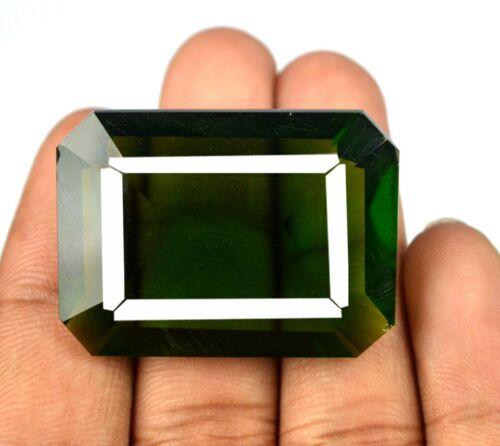 Octagon Cut 96.30 Ct Brazilian Olive Green Peridot Gemstone AGI Certified Q8797