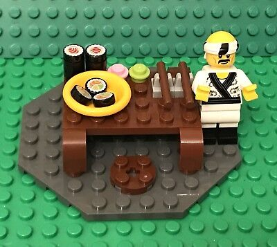 Lego MOC Asian Japanese Style Dinning Table,Tuna / Salmon Sushi Chef Mini Figure
