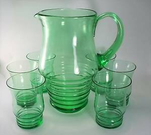 Retro  Green JUG Funky Pitcher JUG Beehive 6 GLASSES SET Cocktail Tighes Hill Newcastle Area Preview