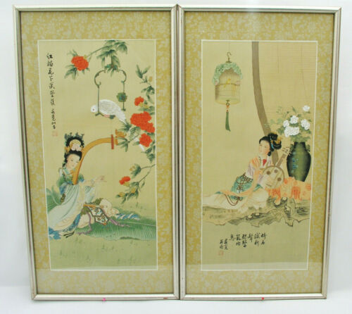 PAIR JAPANESE SILK ART PAINTINGS - GEISHA MUSICIANS w/ BIRDS - SIGNED & STAMPED