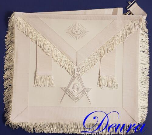 Masonic Regalia Master Mason WHITE LEATHER FRINGE  APRON EMBROIDERED DMA-5000