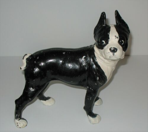 1920 Antique Hubley Boston Terrier Bulldog Cast Iron Door Stop Dog Sculpture