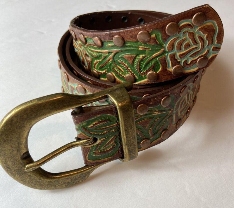 Vintage Hand Painted Tooled Women's Leather Belt Grommets Flowers Size Medium