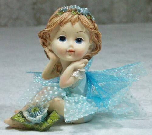 Cute Aqua Blue Fairy Girl Figurine 10cm Poly Resin & Tulle  FAIGCUTE