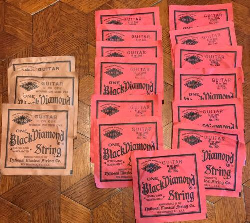 Lot 16 NMSCo N.M.S. Co. Black Diamond Guitar Strings, Mix of B & E strings