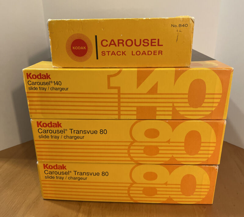 Lot of 3 Kodak Carousel Slide Trays Original Boxes (80, 80, 140) w/ Stack Loader