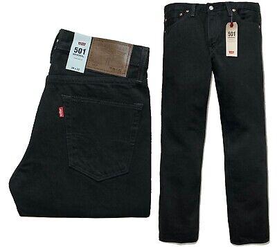Genuine Levis 501 Mens Jeans Straight Leg Black Blue Denim Cotton