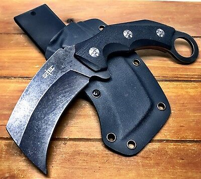 "8.5"" Tactical fixed Blade karambit G10 Handle Kydex Sheath Stonewash Finish"
