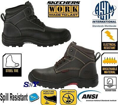 Steel Toe Work Boots Puncture Resistant ASTM EH Leather  SHOCK ABSORBING Boot sk