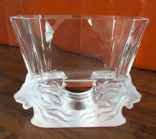 Lalique France Venise Art Glass Crystal Vase Double Lion Head Frosted Bowl