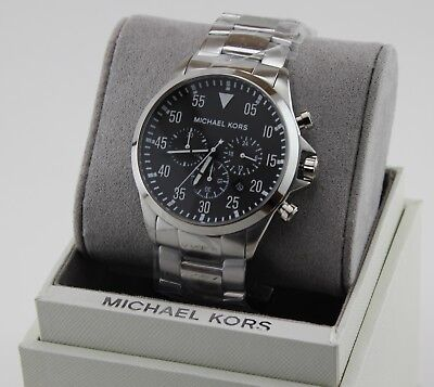 NEW AUTHENTIC MICHAEL KORS GAGE BLACK SILVER CHRONOGRAPH MEN'S MK8413 WATCH