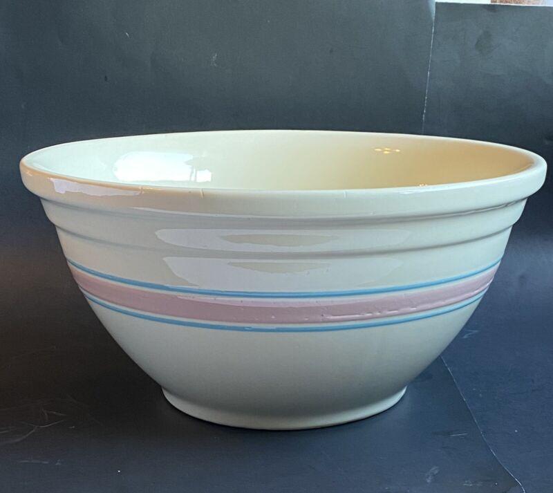 "Vintage McCoy USA Mixing Bowl #114 LARGE Pink Blue Stripes Pottery 14"""