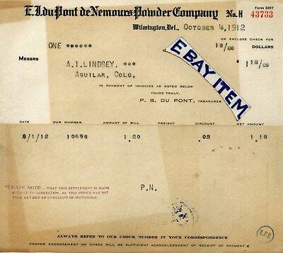 1912 E I Du Pont De Nemours Powder Co  Billhead Wilmington Deleware Expolosives