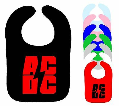 Dc-bib (AC/DC BIB ACDC DRIBBLE ON MUSLIN ROCK METAL MUSIC BAND BIB ASST COLOURS NEW)