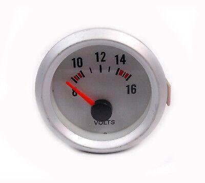 52mm Silver Face Volt Meter - Voltage gauge Silver Rim 8 -16 volt