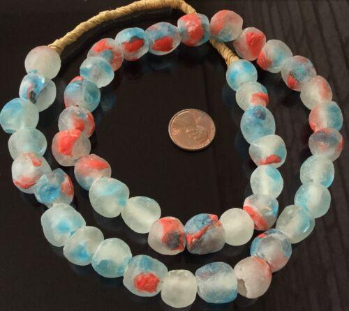 Handmade Ghana Sea Blue multi Krobo recycled Glass African trade Beads-Ghana